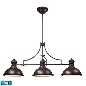 ELK 66135-3-LED, Chadwick Large 1 Tier Chandelier Lighting, 3 Light LED, Oiled (Large Chandelier Light Fixture)