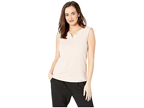 Calvin Klein Women's Sleeveless Top with Crystal and Chain Blush 1 Medium