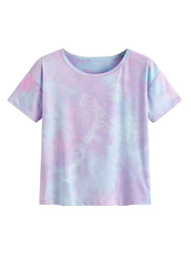 - SweatyRocks Women's Short Sleeve Tie Dye Crop T-Shirt Casual Tee Tops Purple Blue Small