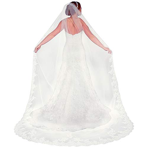 Qivange Wedding Bridal Veil with Comb 1 Tier Lace Applique Edge Cathedral Length 118