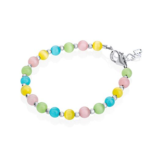 Crystal Dream Multicolor Glass Beads with Sterling Silver Mini Beads Birthday Keepsake Stylish Baby Girl Bracelet Gift (BCTM_S)