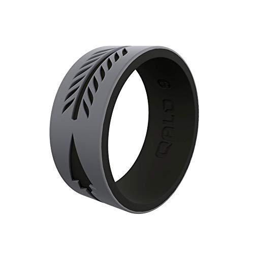 QALO Men's Strata Arrow Silicone Ring, Two Tone and Dual Layered - Grey and Black, Size 08 ()