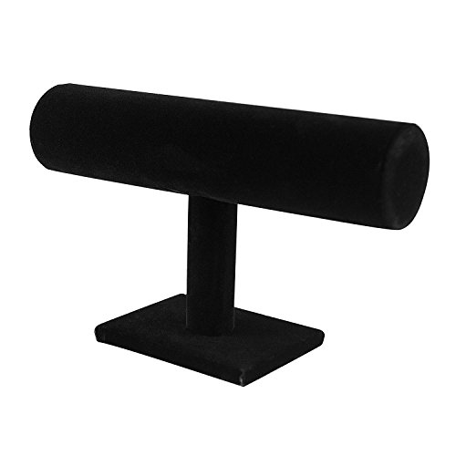 Black Velvet Hovering T-Bar Bracelet Necklace Jewelry Display Stand for Home (Bracelet Watch Jewelry Display)