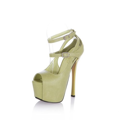 VogueZone009 Womens Open Toe High Heel Stiletto Platform PU Soft Material Solid Sandals with Buckle, Green, 4.5 UK