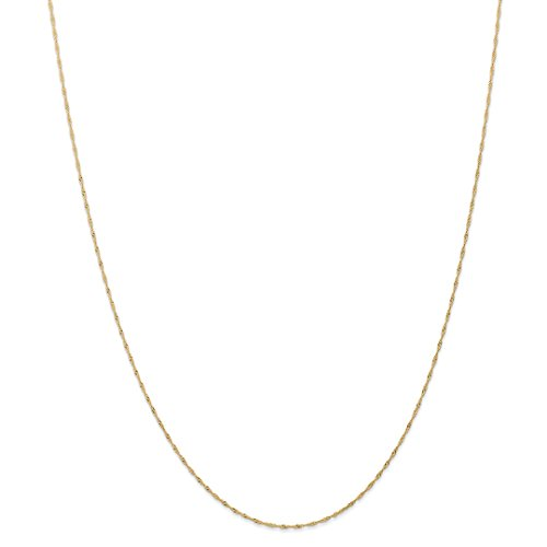 (14k Yellow Gold 1mm Link Singapore Chain Necklace Carded 16 Inch Pendant Charm Fine Jewelry Gifts For Women For)
