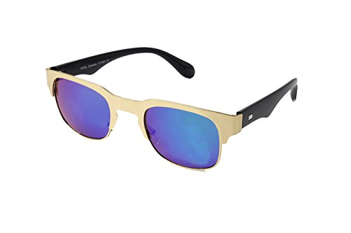 Bleu Lentille Accessoryo Cadre Soleil Style De Lunettes Couleur Unisexe Demi Wayfarer Avec Miroir Or xHxpagRq1