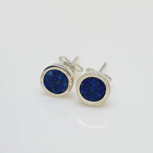(Circle-shaped Lapis Lazuli Micro Mosaic Sterling Silver Stud Earrings, Semi Precious Gemstone by Handmade Studio )