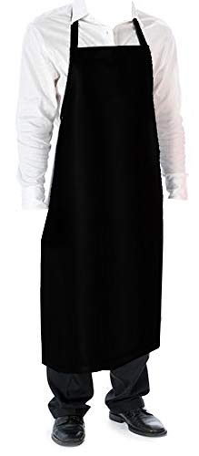(Cozy Home Vinyl Waterproof Apron Durable Ultra Lightweight Extra Long Black)