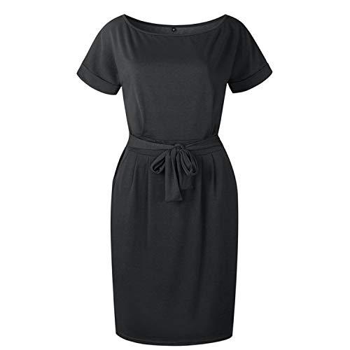 Crissiste Dresses Casual Short Sleeve O-Neck Straight Bodycon Dress Women Loose Pocket Black S