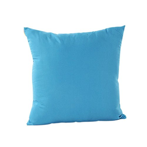 Clearance ! AmyDong Home Decor Pillow Case Cotton Linen Cushion Cover Plain pillowcase car accessories office nap pillow bedroom decorative pillowcase (Blue)