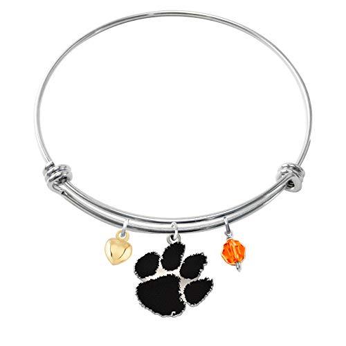 College Jewelry Clemson University Tigers Bracelets | Sterling Silver Adjustable Bangle Cutout Charm ()