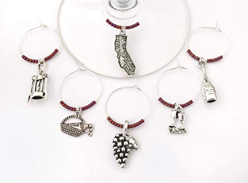 California Wine Country Charms, Gift for California Wine lover. Includes California, Grapes, Wine Bottle, Cheers glasses, picnic basket, and corkscrew charms. Set of 6. BURGUNDY BEADS.