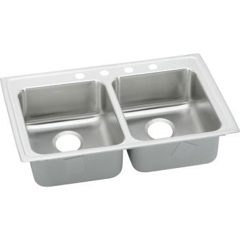 Gourmet Deep Double Bowl - Elkay LRAD3319-55-5 Stainless Steel - 5 Hole Gourmet ADA Compliant Top Mount 5-1/2