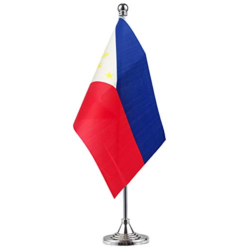 (GentleGirl.USA Philippines Flag Filipino Flag Table Flag,Desk Flag,Office Flag,International World Country Flags Banners,Festival Events Celebration,Office Decoration,Desk,Home Decoration)