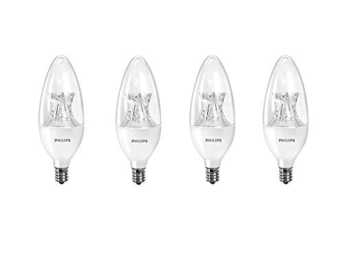 Philips 458687 LED B12 Dimmable Candle Light Bulb with Warm Glow Effect: 500-Lumen, 2700-2200 Kelvin, 7-Watt (60-Watt Equivalent), E12 Candelabra Base, Soft White, 4-Pack (Renewed)