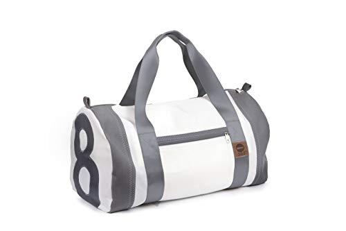360° Grad Sport-Tasche Damen groß, Weekender Pirat weiß mit Zahl grau, Segeltuch-Tasche wasserdicht, maritim, wetterfest