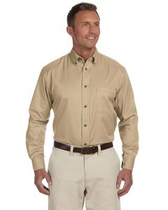 Harriton Mens Long-Sleeve Twill Shirt with Stain-Release (M500) -STONE -2XL (Release Stone Stain)