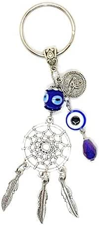 Lucky Dreamcatcher and Evil Eye Good Luck Keychain Ring, Handbag Charm for Good Luck and Blessing, Great Gift