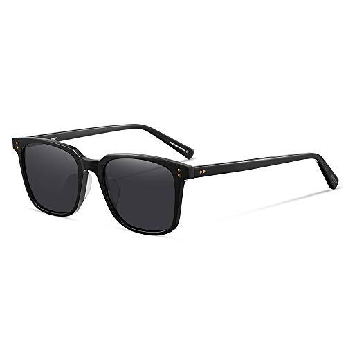 EyeGlow Vintage Square Designer Sunglasses Men and Women Polarized Lens S6801 (Black vs Grey lens, Polarized lens as pictures)