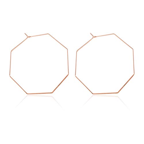 Simple Lightweight Geometric Statement Hoop Earrings - Classic Thin Wire Delicate Curved Arc, Pear, Octagon, Pentagon Pear, Horseshoe, Oval Hoops (Octagon - Rose Gold)