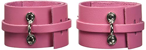 KinkLab Pink Bound Leather Ankle Cuffs