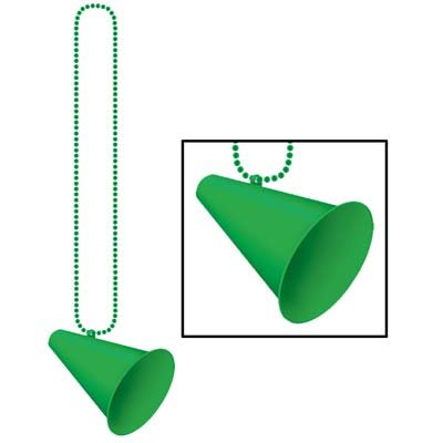 (Beistle Beads with Megaphone Medallion, 33-Inch, Green)