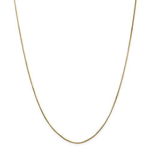 14k Yellow Gold 1mm Octagonal Snake Chain Necklace 18 Inch Pendant Charm Fine Jewelry Gifts For Women For Her