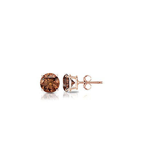 Diamond Wish 14k Rose Gold Round Brown Diamond Stud Earrings (1/4 cttw, Brown, SI1-SI2) 4-Prong Basket set with Push-Back