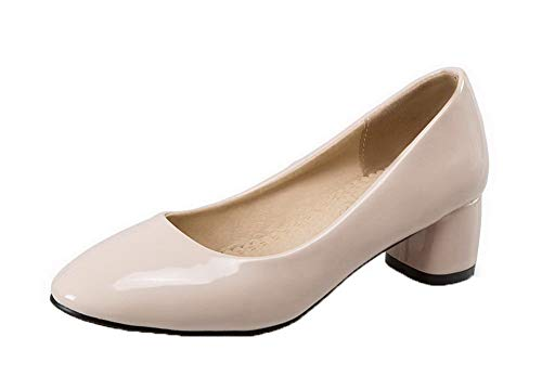 Puro Beige Chiusa GMMDB005926 Donna Flats Punta Tacco Medio AgooLar Ballet H54qx