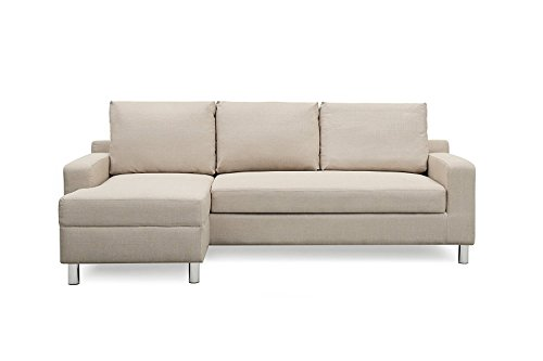 Container Furniture Direct S0114-L Amelie Linen Upholstered Contemporary Modern Left-Sided Sectional Sofa with Bed, 83.9