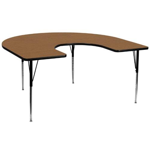 Flash Furniture 60''W x 66''L Horseshoe Oak Thermal Laminate Activity Table - Standard Height Adjustable Legs