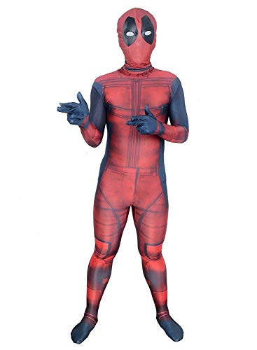 Hoosen Unisex Lycra Zentai Halloween Cosplay Costumes Kids 3D Style, Red/Black, Medium