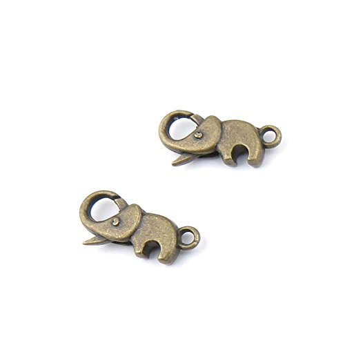 20 pieces Anti-Brass Fashion Jewelry Making Charms 1135 Elephant Lobster Clasp Wholesale Supplies Pendant Craft DIY Vintage Alloys Necklace Bulk Supply Findings Loose ()