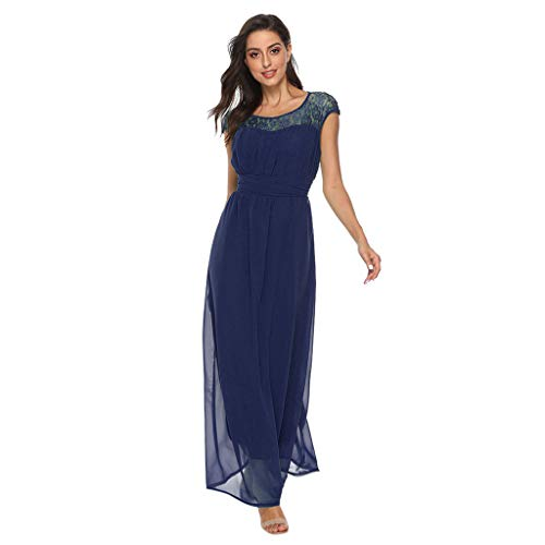 Sexy Lace Floral Evening Party Maxi Dress for Women Bridesmaid Evening Vintage Long Dresses Navy ()