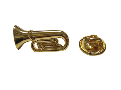 Brooch Pin Ship Free (Gold Toned Tuba Music Instrument Lapel Pin)