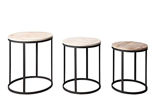 4D Concepts 3-Pc Round Nesting Tables in Distressed and Black