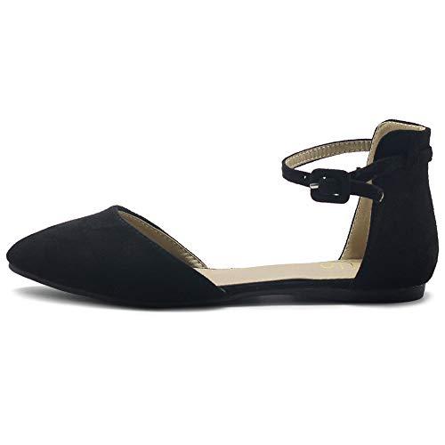 Toe Ballet Black Ollio Ankle Women's D'Orsay Shoes Suede Straps Pointed Faux Flats pw8AzpqP