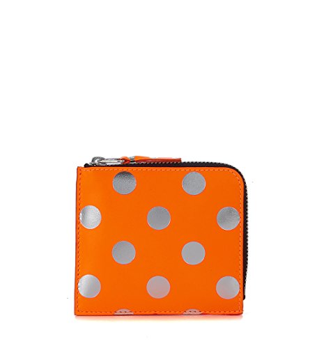 Comme Des Garçons Wallet Men's Comme Des Garçons Orange And Silver Laminated Leather Wallet Orange