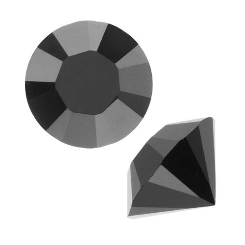 (Swarovski Crystal, 1088 Xirius Round Stone Chatons pp14, 40 Pieces, Jet Unfoiled)