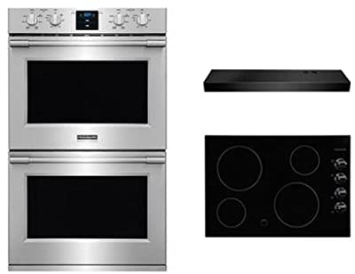"Frigidaire 3-Piece Kitchen Package With FFEC3024LB 31"" Electric Cooktop, FPET3077RF 30"" Electric Double Wall Oven and FHWC3025MB 30"" Under Cabinet Convertible Hood in Stainless Steel"