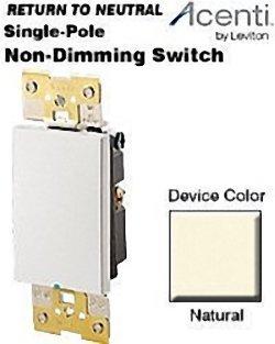 (Leviton AC201-1LA 20 Amp, 120 Volt, Single Pole, Acenti Electro-Mechanical Return to Neutral Switch, Natural )