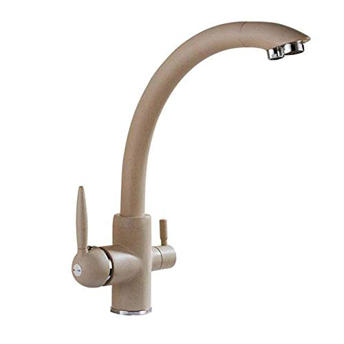 Beige 3 Way Water Filter Taps Kitchen Sink Mixer Tap Pure Drinking Faucet Dual Lever 360 Degree Swivel Spout in Brass