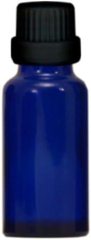 10x Apothekenfläschchen 20ml aus Blauglas mit schwarzem Premium Tropfverschluss (Größe 1mm) und Originalitätsring
