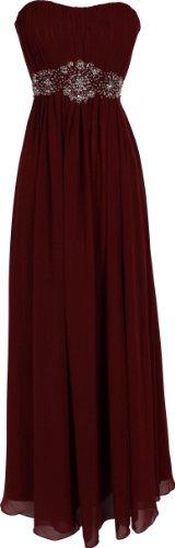 Strapless Chiffon Goddess Long Prom Dress Bridesmaid, XL, Burgundy