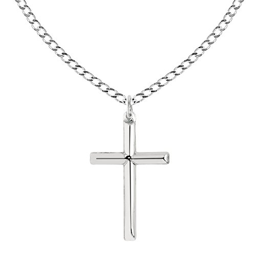 Sterling Silver Shiny Italian Cross Pendant Necklace (18, 20, 24 Inches) (20) (Cross Italian)