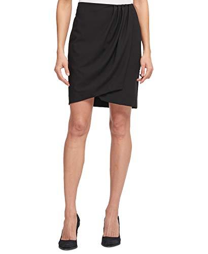 (DKNY Womens Pleated Mini Wrap Skirt Black)