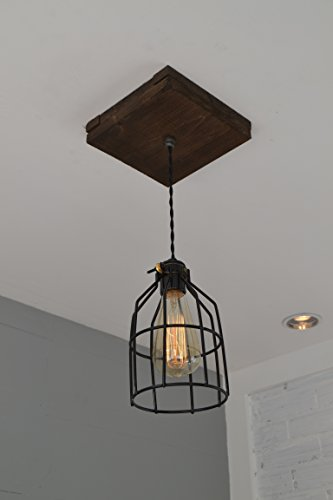 West Ninth Vintage Flushed Wood Pendant Farmhouse Fixture | w/ Metal Cage Light by West Ninth Vintage (Image #1)