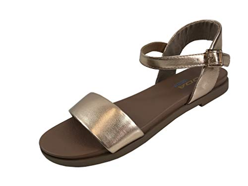 (City Classified Comfort Ankle Wrap Strap Sandal with Buckle, New Rose Gold,)