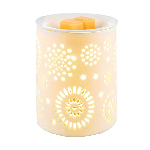 COOSA Electric Wax Melter Sunflower Pattern Ceramic Candle Warmer Wax Burner Melt Fragrance Warmer Incense Oil Warmer Night Light Aroma Decorative Lamp for Gifts, Decor for Home Office