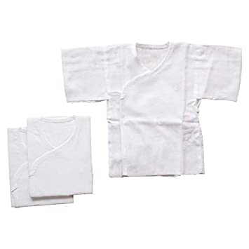 22a879b08d59e 日本製 ホワイト無地 ガーゼ短肌着 3枚組セット 新生児用